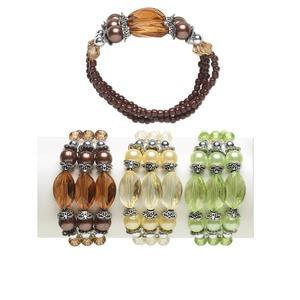 Bracelet, 3-strand Stretch, Acrylic / Glass / Antique Silver-coated Acrylic / Imitation Rhodium-plated Steel, Assorted Colors, 9mm Round 20x13mm Faceted Oval, 7 Inches. Sold Per Pkg 3 1229JU