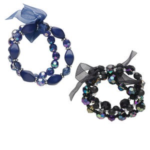 Bracelet, Stretch, Acrylic / Organza Ribbon / Silver-coated Plastic, Blue Black, Faceted Round Multi-shape, 6-1/2 7 Inches. Sold Per Pkg 5 1243JU