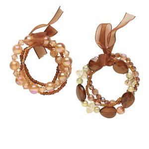 Bracelet, Stretch, Acrylic / Plastic / Glass / Organza Ribbon, Amber Yellow / Gold / Brown, Round Multi-shape, 7-1/2 Inches. Sold Per Pkg 7 1245JU