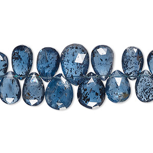 Bead, Blue Kyanite (natural), 7x5mm-13x8mm Hand-cut Top-drilled Graduated Faceted Teardrop 0.4-1.4mm Hole, B+ Grade, Mohs Hardness 4 7-1/2. Sold Per 4-inch Strand, Approximately 25-30 Beads 1245LE