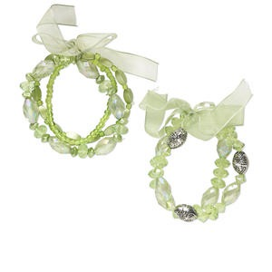 Bracelet Mix, Stretch, Acrylic / Glass / Organza Ribbon / Silver-coated Plastic, Light Green AB Light Green, Mixed Size Shape, 6-1/2 Inches. Sold Per Pkg 5 1248JU