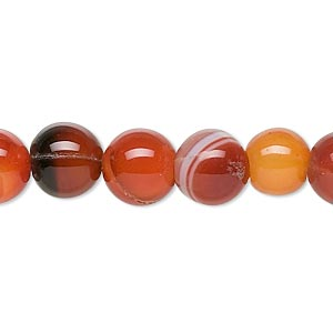 Bead, Red Agate (dyed / Heated), 10mm Round, C Grade, Mohs Hardness 6-1/2 7. Sold Per 15-inch Strand