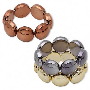 Bracelet, Stretch, Acrylic, Copper / Gold / Gunmetal, 28x12mm Flat Round, 7-1/2 Inches. Sold Per Pkg 3 1260JU