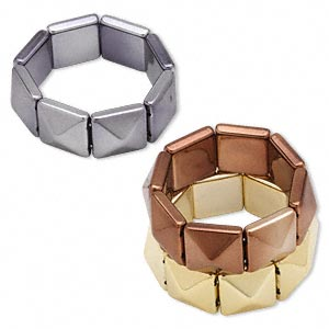 Bracelet, Stretch, Acrylic, Copper / Gold / Gunmetal, 25mm Square Pyramid, 6-1/2 Inches. Sold Per Pkg 3 1261JU