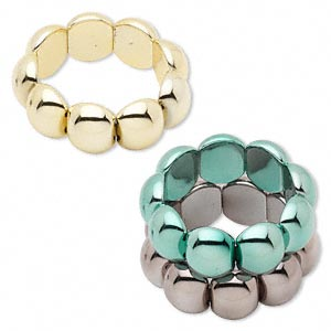 Bracelet, Stretch, Acrylic, Metallic Green / Gold / Gunmetal, 24x19mm Domed Oval, 6 Inches. Sold Per Pkg 3 1262JU