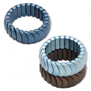 Bracelet, Stretch, Acrylic, Matte Brown / Dark Blue / Light Blue, 25x16mm Half Moon, 7 Inches. Sold Per Pkg 3 1263JU