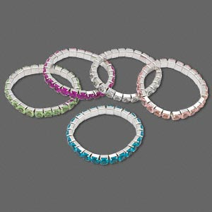 Bracelet Mix, Stretch, Acrylic Steel, Mixed Colors, 6mm Faceted Round, 6-1/2 Inches. Sold Per Pkg 5 1264JU