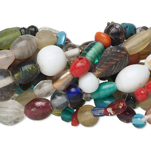 Bead Mix, Glass, Mixed Colors, 6-22mm Mixed Shape. Sold Per Pkg (10) 16-inch Strands