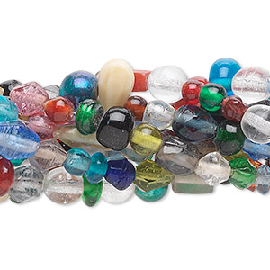 Bead Mix, Glass, Mixed Colors, 3-6mm Mixed Shape. Sold Per Pkg (10) 16-inch Strands