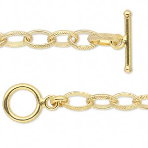 Chain, 14Kt Gold-filled, 6mm Textured Oval, 18 Inches Toggle Clasp. Sold Individually