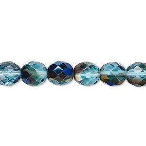Bead, Czech Fire-polished Glass, Teal Blue Iris, 8mm Faceted Round. Sold Per 16-inch Strand 152-19001-00-8mm-60010-22201