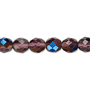 Bead, Czech Fire-polished Glass, Lilac Blue Iris, 8mm Faceted Round. Sold Per 16-inch Strand 152-19001-00-8mm-20050-22201