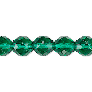 Bead, Czech Fire-polished Glass, Teal, 10mm Faceted Round. Sold Per 16-inch Strand, Approximately 40 Beads 152-19001-00-10mm-50720