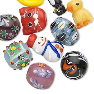 Bead Mix, Porcelain Lampworked Glass, Mixed Colors, 12-35mm Mixed Shape. Sold Per Pkg 10