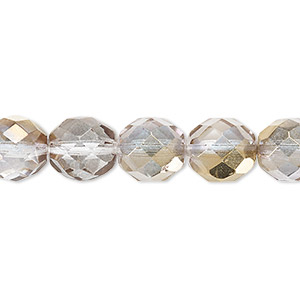 Bead, Czech Fire-polished Glass, Clear Metallic Gold, 10mm Faceted Round. Sold Per 16-inch Strand 152-19001-00-10mm-00030-10115