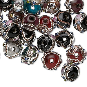 Bead Mix, Lampworked Glass, Purple / Red / Green / White / Black Silver-colored Finish, 10x8mm Rondelle. Sold Per 50-gram Package, Approximately 40-45 Beads