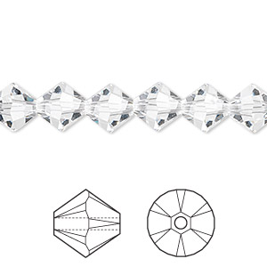 Bead, Swarovski® Crystals, Crystal Passions®, Crystal Clear, 8mm Xilion Bicone (5328). Sold Per Pkg 12 5328