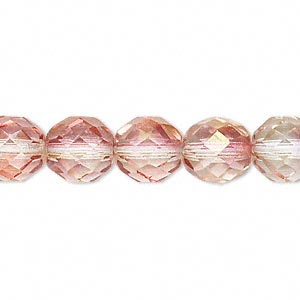 Bead, Czech Fire-polished Glass, Pink/peach, 10mm Faceted Round. Sold Per 16-inch Strand 152-19001-00-10mm-00030-91002