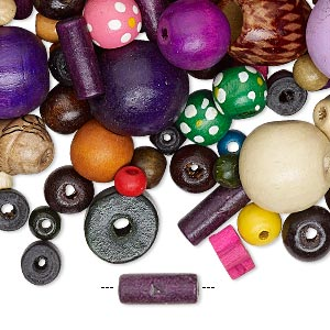 Bead Mix, Painted Wood, Mixed Colors, 2-50mm Mixed Shape. Sold Per 1-pound Pkg, Approximately 1,700 2,600 Beads