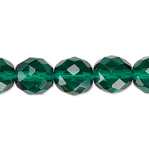 Bead, Czech Fire-polished Glass, Teal, 12mm Faceted Round. Sold Per 16-inch Strand, Approximately 35 Beads 152-19001-00-12mm-50720