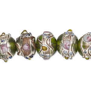 Bead, Lampworked Glass, Transparent Green Multicolored Silver- Gold-colored Foil, 13x11mm Rondelle. Sold Per Pkg 30