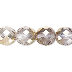 Bead, Czech Fire-polished Glass, Clear Metallic Gold, 12mm Faceted Round. Sold Per 16-inch Strand 152-19001-00-12mm-00030-10115