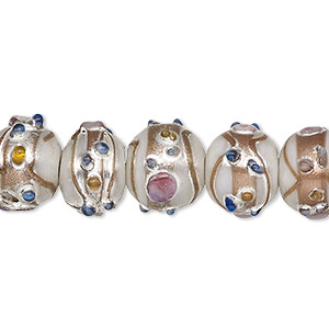 Bead, Lampworked Glass, Opaque Light Silver Multicolored Silver- Gold-colored Foil, 13x11mm Rondelle. Sold Per Pkg 30