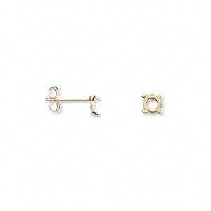 Earstud, Cab-Tite™, 14Kt Gold-filled, 4mm 4-prong Round Setting. Sold Per Pair G10545GP #50YP
