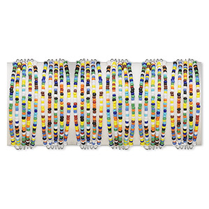 Bracelet, Cuff, Glass Silver-plated Steel Pewter (tin-based Alloy), Multicolored, Adjustable 7-8 Inches. Sold Per Pkg 6 1335JU