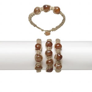 Bracelet, agate (natural) / hemp / resin, brown and orange, small weaved pebble, 7 inches with button clasp, Mohs hardness 6-1/2 to 7. Sold per pkg of 3.