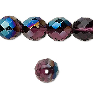 Bead, Czech Fire-polished Glass, Lilac Blue Iris Finish, 12mm Faceted Round. Sold Per 16-inch Strand