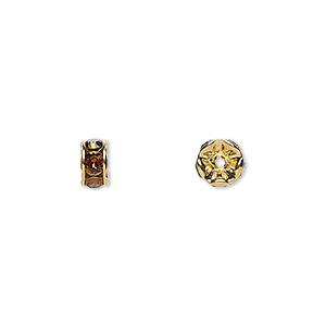 Bead, Swarovski® Crystals Gold-plated Brass, Crystal Passions®, Smoked Topaz, 6x3.5mm Rondelle (77506). Sold Per Pkg 4 77506