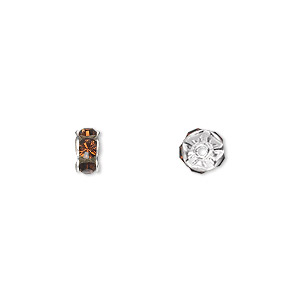 Bead, Swarovski® Crystals Silver-plated Brass, Crystal Passions®, Smoked Topaz, 6x3.5mm Rondelle (77506). Sold Per Pkg 4 77506
