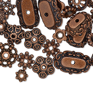 "Bead Cap Mix, Antique Copper-finished ""pewter"" (zinc-based Alloy), 6x2mm-18x6mm Mixed Shapes. Sold Per Pkg 50"