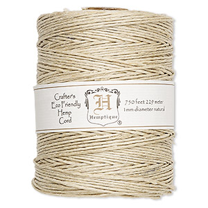 Cord, Hemptique®, polished hemp, natural, 1mm diameter, 20-pound test. Sold per 750-foot spool.