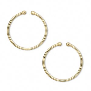 Earring Non Pierced Gold Plated Br 20mm Round Hoop With 2mm Ball Ends Sold Per Pkg Of 5 Pairs Fire Mountain Gems And Beads