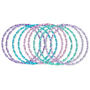 Bracelet, Bangle, Imitation Rhodium-finished Steel, Assorted Colors, 3mm Wide, 8 Inches. Sold Per Pkg 10 1383JU