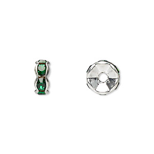 Bead, Glass Rhinestone Silver-plated Brass, Emerald Green, 8x4mm Rondelle. Sold Per Pkg 10