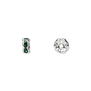 Bead, Glass Rhinestone Silver-plated Brass, Emerald Green, 6x3mm Rondelle. Sold Per Pkg 10