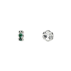 Bead, Glass Rhinestone Silver-plated Brass, Emerald Green, 5x2mm Rondelle. Sold Per Pkg 10