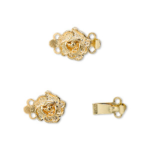 Clasp, 2-strand Tab, Gold-plated Brass, 9x9mm Single-sided Rose. Sold Per Pkg 10