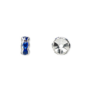Spacer Beads Silver Plated/Finished Blues