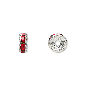 Spacer Beads Silver Plated/Finished Reds