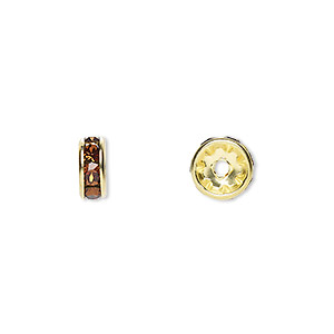 Bead, Swarovski® Crystals Gold-plated Brass, Crystal Passions®, Smoked Topaz, 8x3.5mm Rondelle (77508). Sold Per Pkg 48 77508
