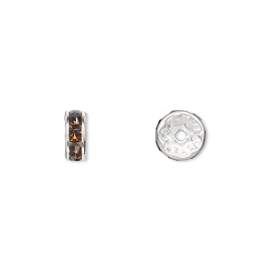 Bead, Swarovski® Crystals Silver-plated Brass, Crystal Passions®, Smoked Topaz, 8x3.5mm Rondelle (77508). Sold Per Pkg 48 77508