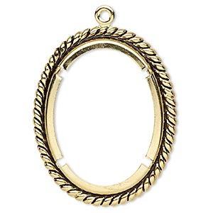 Focal, Antique Gold-plated Brass, 48x39mm Rope Edge Oval 40x30mm Oval Setting. Sold Per Pkg 10