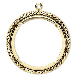 Focal, Antique Gold-plated Brass, 47mm Rope Edge Round 38mm Round Setting. Sold Per Pkg 10