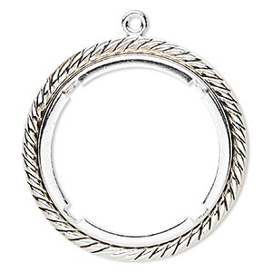 Focal, Antique Silver-plated Brass, 47mm Rope Edge Round 38mm Round Setting. Sold Per Pkg 10