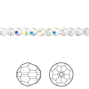 Bead, Swarovski® Crystals, Crystal Passions®, Crystal AB, 4mm Faceted Round (5000). Sold Per Pkg 12 5000