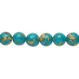 "Bead, Mosaic ""turquoise"" (dyed / Assembled), Blue, 8mm Round, Mohs Hardness 3-1/2 4. Sold Per 16-inch Strand 1428GE"